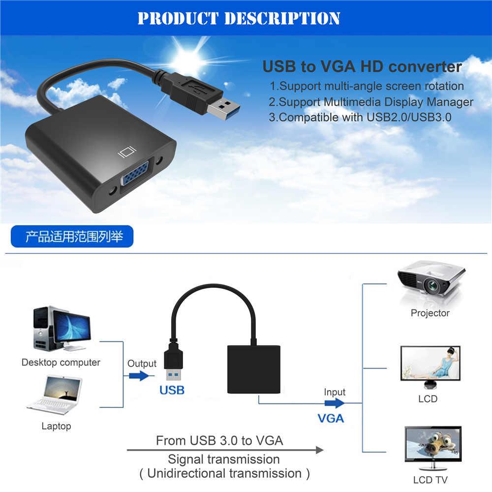 USB 3.0 إلى VGA العرض المتعدد محول محول الخارجية فيديو رسم بطاقة لوين XP/7/8 محمول مشغل ديفيدي أقراص كابل تجهيز مرئي