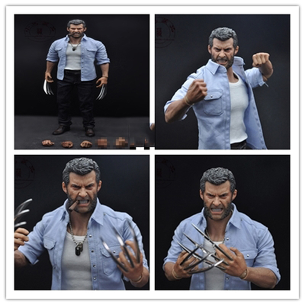 1/6 Scale Hugh Jackman Wolverine Logan Full Set Figures Angry Version Head&Body&Clothes and Accessories Gifts Toys Collections 1 6 scale wolverine 3 hugh logan head sculpt clone version with short hair for 12 inches male bodies dolls figures gifts toy