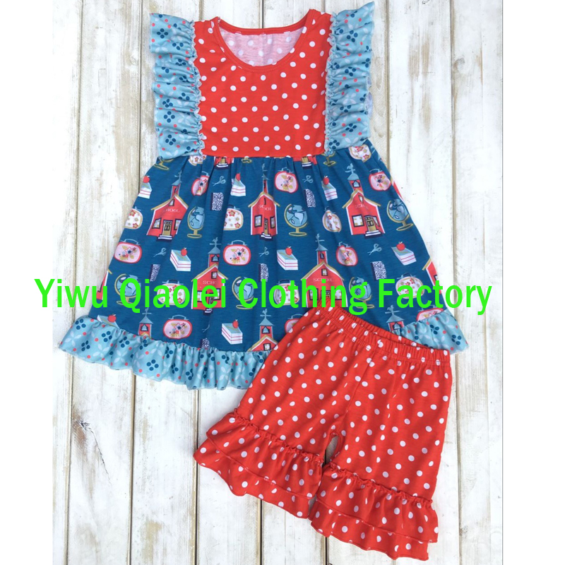 Back to school clothes sets high quality cotton printing for Fabric for kids clothes