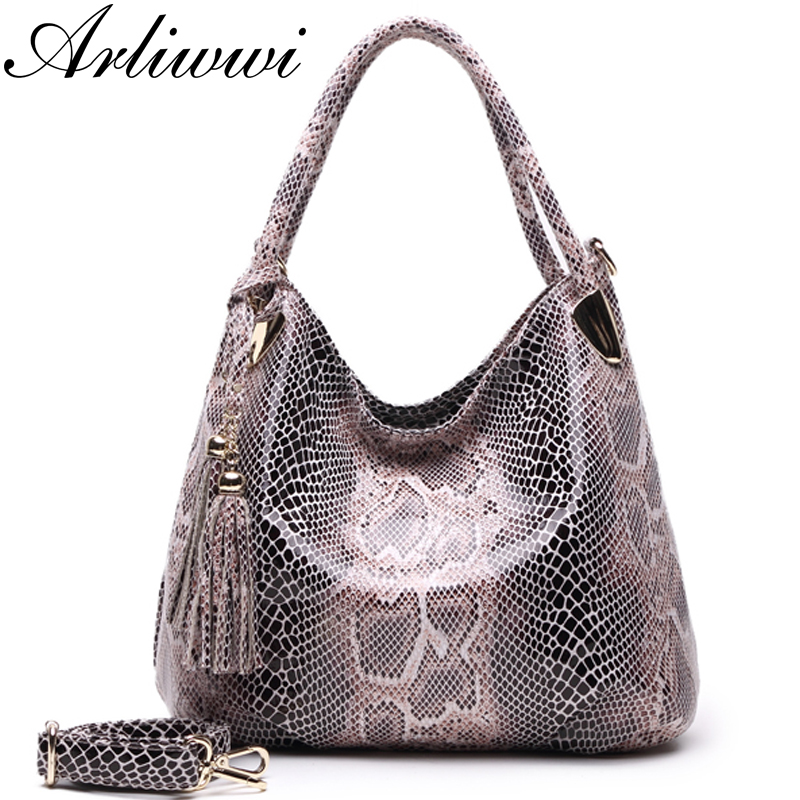 BIG SALE*Individual Fashion Snake Designer Big Capacity Lady Bags New Tassel Embossed PU Leather Cross Body Handbags Women