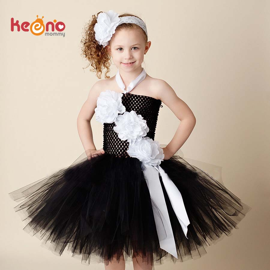 Black And White Flower Girls Tutu Dress With Headband Pageant Soft
