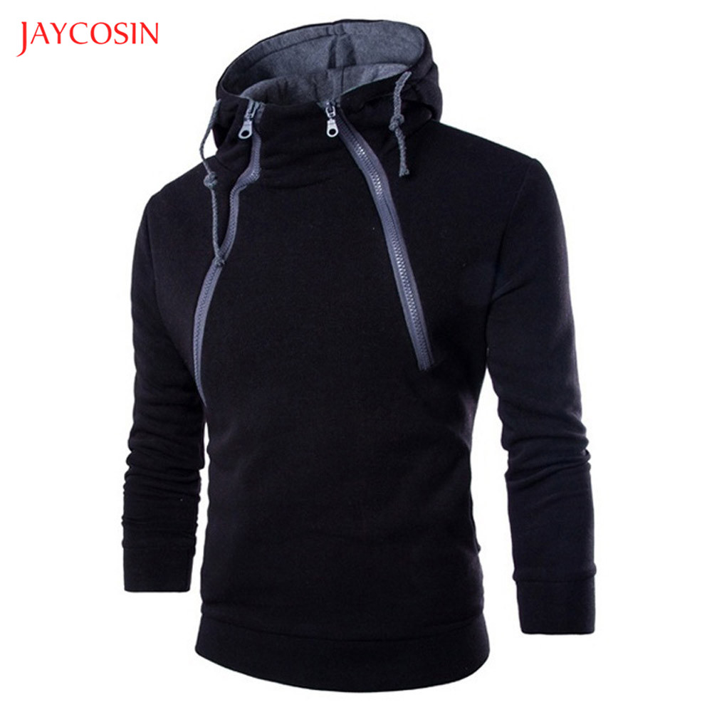 Jaycosin Clothes Men Zipper Patchwork Hoodie Sweatshirt Spring Autumn Casual Long Sleeve 3XL O-Neck Sport Exercise Top Blouse