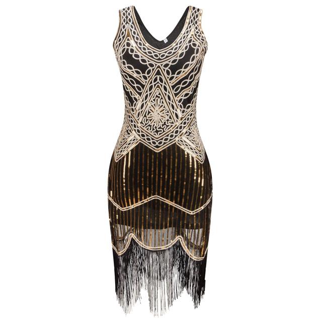 Women Party Dress Robe Femme 1920s Great Gatsby Flapper Sequin Fringe Midi  Dress Vestido Summer Art Deco Retro Black Dress free shipping worldwide 8ad400ac285d