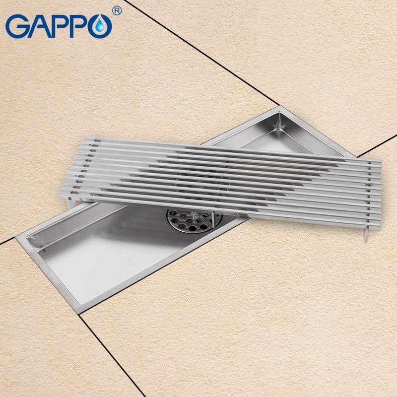 GAPPO Drains stainless steel recgangle linear floor drains waste drain water drains strainer anti odor bathroom