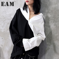 EAM 2018 Hot Sell New Spring Lapel Black White Hit Color Irregular Loose Big Size