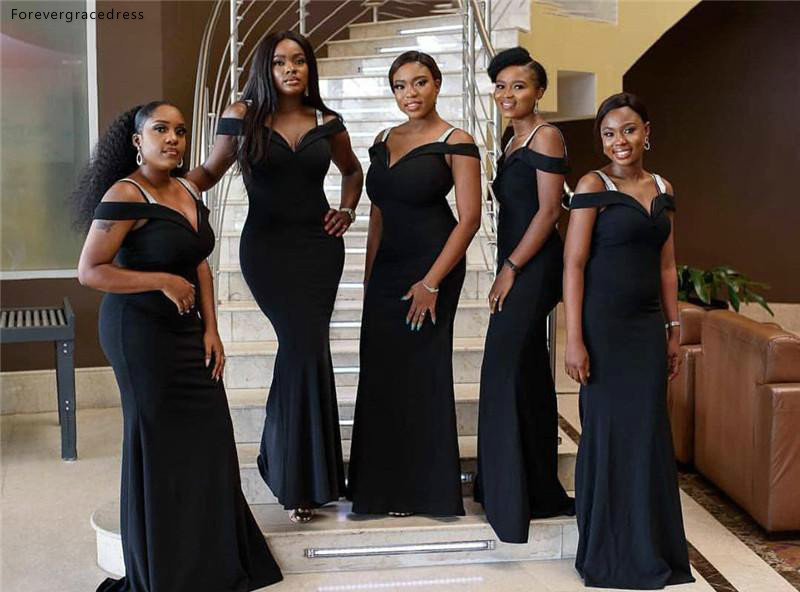 Black Off Shoulder   Bridesmaid     Dress   South African Summer Country Garden Formal Wedding Party Guest Maid of Honor Gown Plus Size