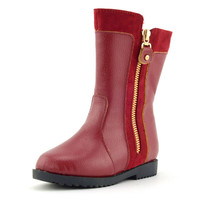 Girls Boots With Side Zipper Leather Boots For Autumn Winter Princess Red Botas Kids Snow Boots
