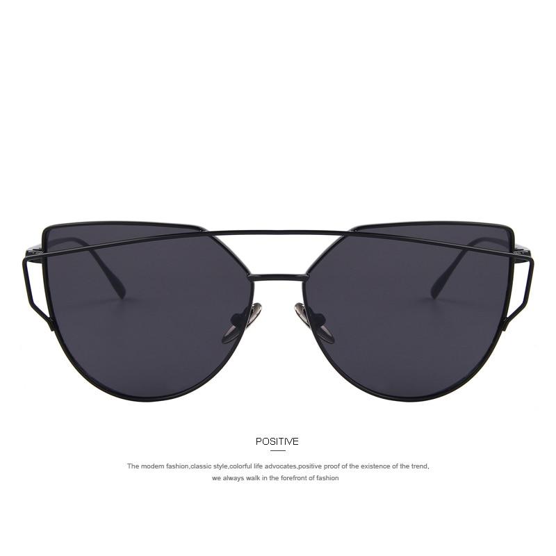 Mode Féminine Cat Eye Sunglasses Classique Marque Designer Twin-Poutres Lunettes de Soleil Lady Coating Mirror Flat Panel Objectif Lunettes (Noir Cadre / Rouge Lense) RBQToof0H