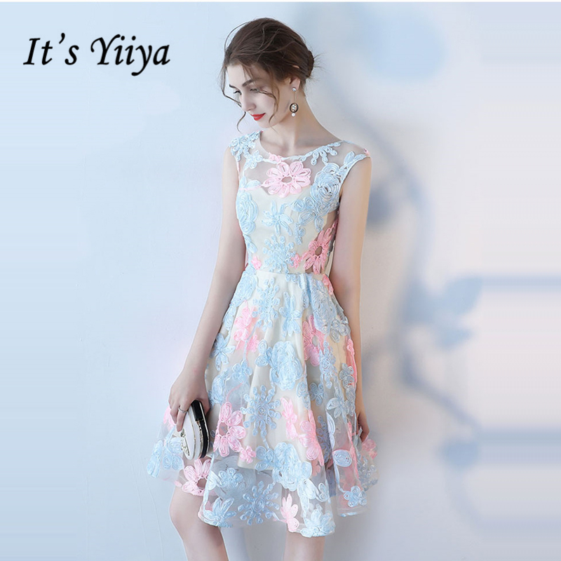 It's YiiYa Cocktail Dress 2018 Party Sleeveless A-Line Flower Contrast Color Fashion Designer Elegant Cocktail Gowns LX976