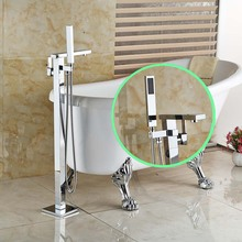 Bathroom Floor Mount Freestanding Chrome Bathtub Filler Bath Tub Faucet W Handshower