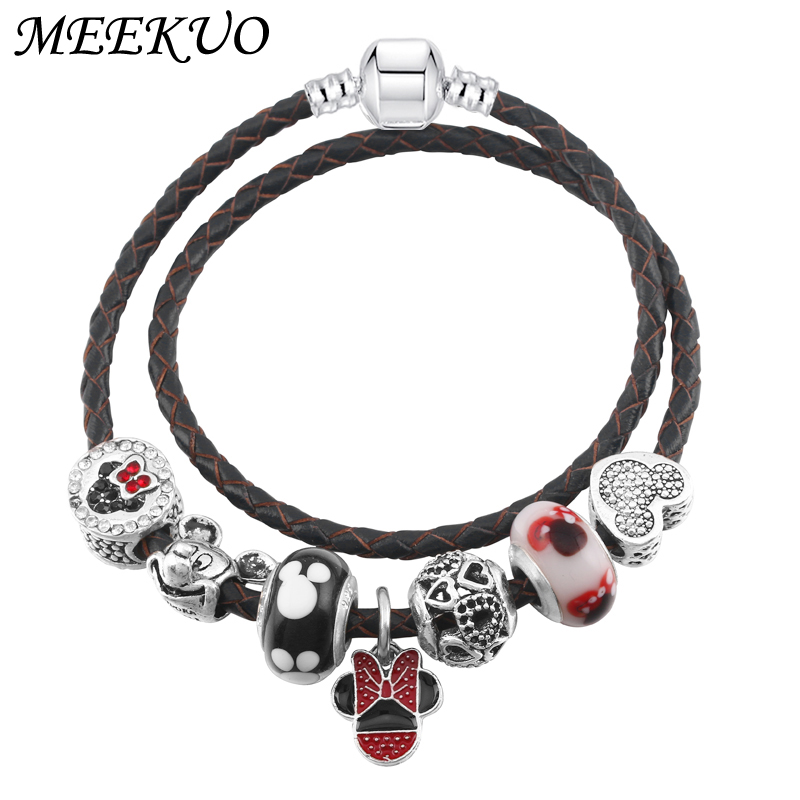 MEEKUO European Mickey of Luck Charm Bracelets With Boy&Girl Charm Beads fit Pandora Bracelets For Children DIY Jewelry gift