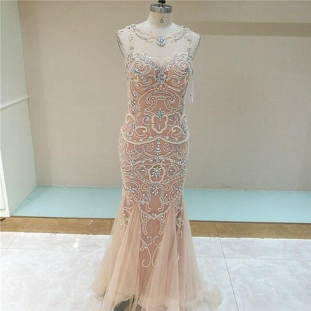 0e291c3ce3705 Luxury Rhinestone Mermaid Dubai Long Evening Dresses New Blush Crystal  Beading Pearl Sheer Prom Dresses Robe De Soiree LSX006