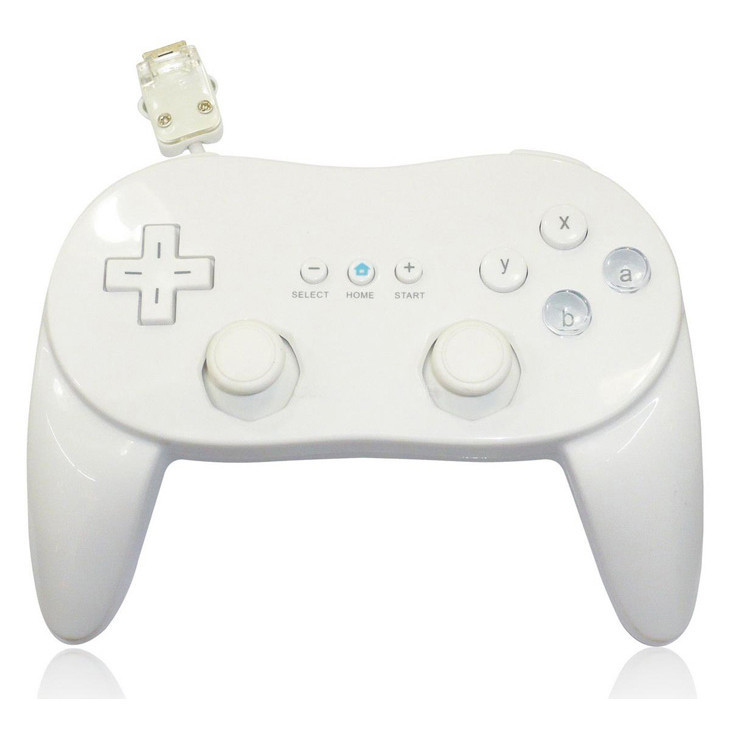 White Wired Classic Controller Pro for Nintendo Wii Remote Console Video Game