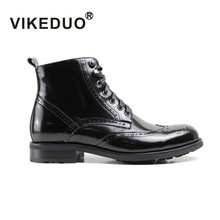 2019 Vikeduo New Arrival Ankle Boots For Men Solid Genuine Cow Leather Mens Handmade Wedding Office Shoes Brogue Botas