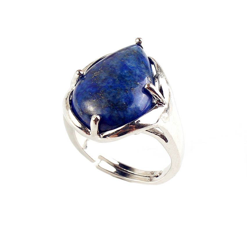 FYJS Unique Silver Plated Water Drop Tiger Eye Stone Resizable Finger Ring Lapis Lazuli Jewelry in Rings from Jewelry Accessories