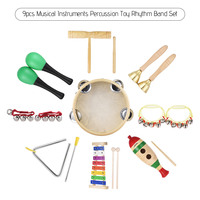 9pcs Musical Instruments Percussion Toy Rhythm Band Set Glockenspiel drum Maracas Double barrelled Cylinder toys for Kids