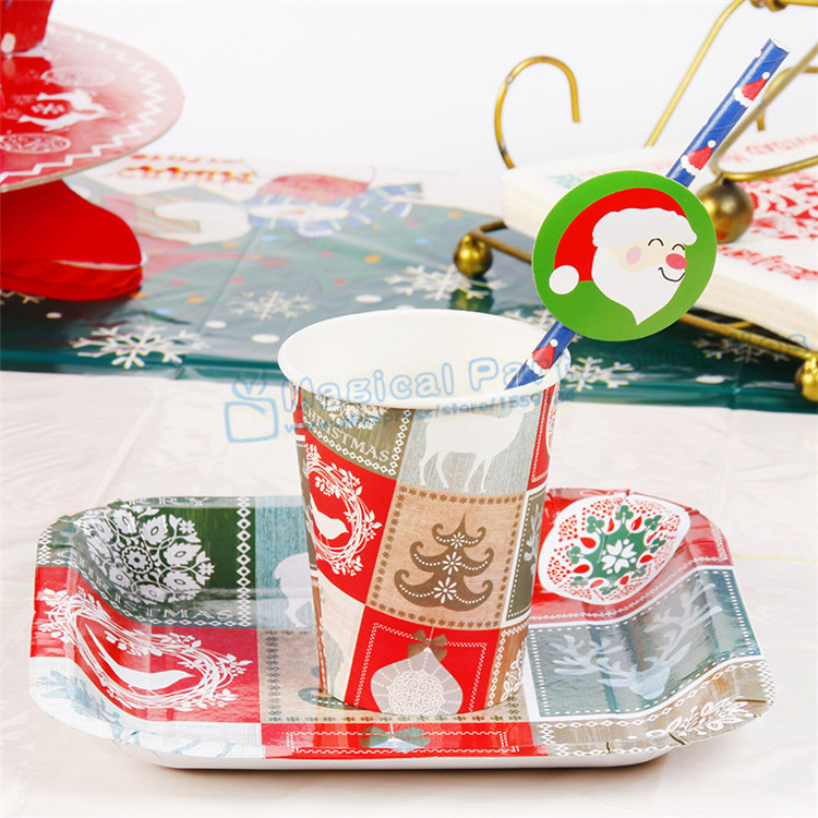10 Sets Christmas Party Tableware Christmas Paper Plates Cups ...