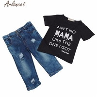 Selling 2017 FASHION New Toddler Kid Infant Baby Boy Clothes T-shirt Top+Denim Pant Outfit Set Y102630