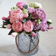 Искусственные цветы для украшения розы пиона Шелковый маленький букет Флорес вечерние Весенние Свадебные украшения Свадебный искусственный цветок