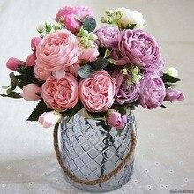 Flores artificiais para decoração rosa peônia seda pequeno bouquet flores festa primavera casamento decoração mariage falso flor