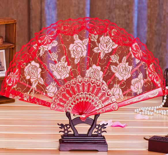30pcs Lace Fabric Silk Folding Hand Held Dance Fans Flower Party Wedding Prom