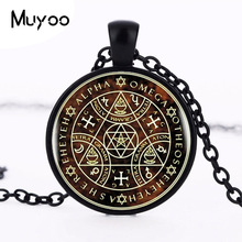 2017 Sigil Magic WICCA Pendant Choker Statement Silver Necklace For Women Dress Accessories Glass Cabochon Pendants Jewelry HZ1