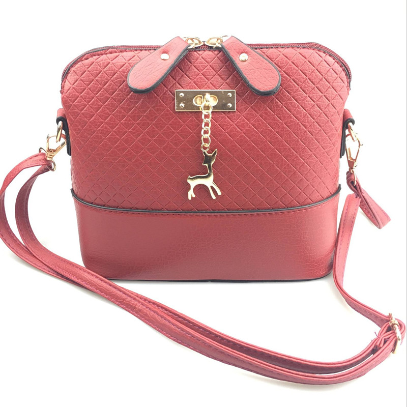 Designer Brand PU Leather Luxury Cross body Shell Shape Women Handbag with Deer Toy