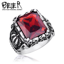 BEIER Men's CZ Stone Gothic Crown Rings Vintage Stytle Stainless steel High Quality Jewelry BR8-066 US Size(China)