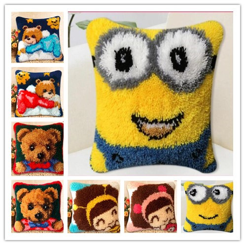 Cartoon Latch Hook kits pillow coverhand craft embroidery DIY Crocheting handmade needlework suppliesCartoon Latch Hook kits pillow coverhand craft embroidery DIY Crocheting handmade needlework supplies