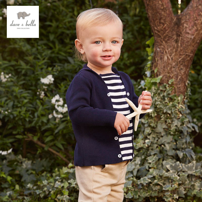 DB4916 Dave Bella Spring Fall Baby Girls Navy Striped Sweater Boys Navy Star Embroidery Sweaters Stylish Sweater