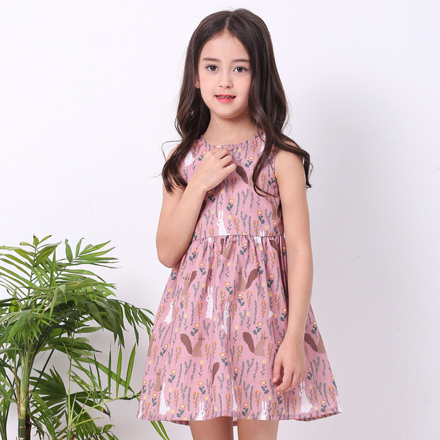8a5b9eacb93e 2018 Summer Girls Easter Dress Cute Bunny Rabbit Pattern Pink Fashion Frock  Design Teens for Kids 6789 10 11 12 13 14 Years Old