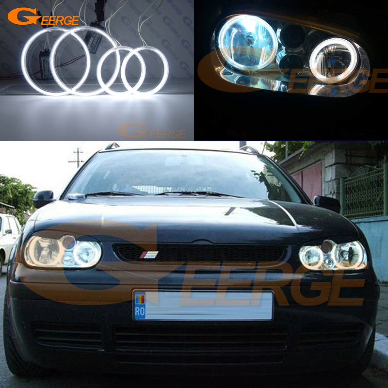 For Volkswagen VW Golf MK4 R32 GTi VR6 CABRIO A4 1998-2004 Excellent Ultra bright illumination CCFL Angel Eyes kit Halo Ring for vw golf gti tdi r32 mk4 1998 2004 front bumper grill with led angel eyes fog lights switch wiring kit 9443