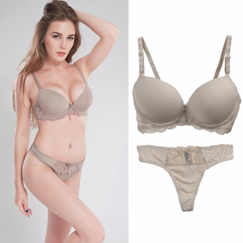Women Sexy Lingerie Suit Lace Bow   Bra   And Panties Female Push Up   Bra     Set   Fashion Underwear Solid   Bra     Brief     Sets