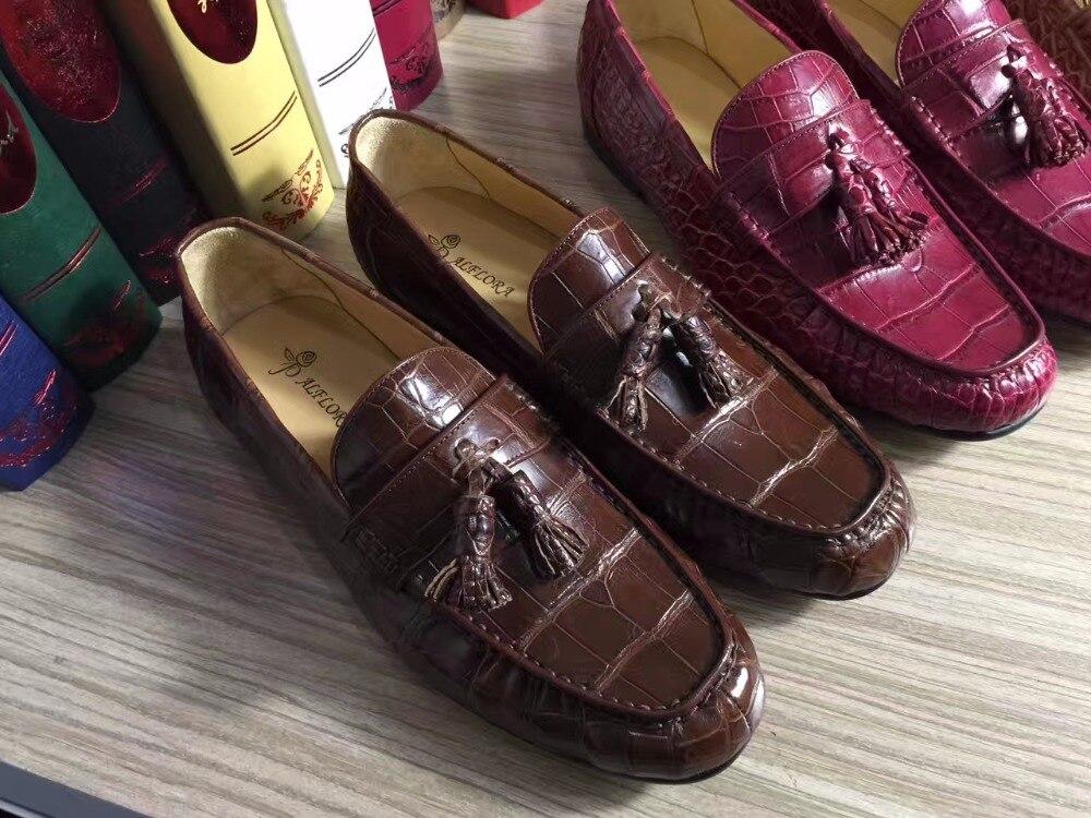 Crocodil Superior Vino A Hechos 2018 Reales De Tinto Mano Color Calidad La Cocodrilo Zapatos Piel Hombres Auténticos Genuino Marrón Hombre xqXwaFv4q