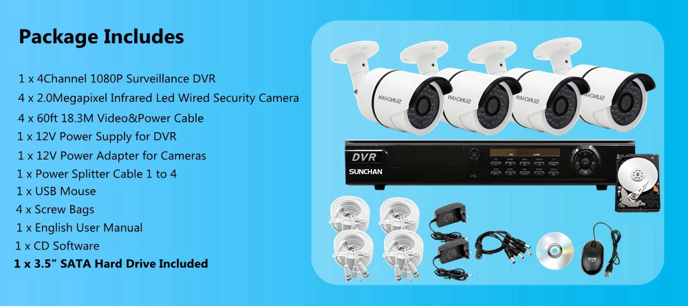 4CH DVR AHD 2MP Outdoor Bullet 1080P Security Camera System 1TB
