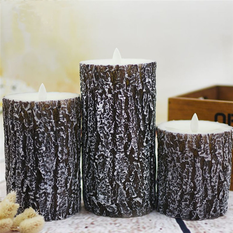 3pcs LED Candle Light Battery Candles Lamp Flame Remote Control Candle Wax Birthday Electric Pillar Christmas Candles 30 - 2
