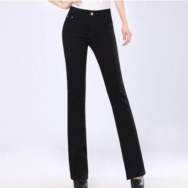 Новинка; женские джинсы большого размера; расклешенные джинсы; повседневные брюки - Цвет: Черный