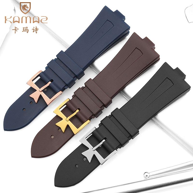 Bracelet en silicone souple pour Jiangshi Danton croix la mer montre avec noir marron étanche VC papillon boucle mâle