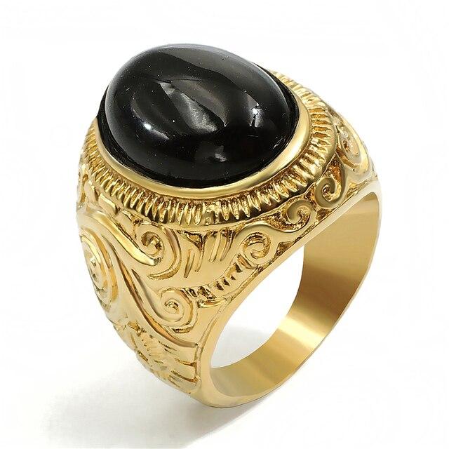 Modeschmuck gold ring  Aliexpress.com : Männer frauen Gold Ring Natur Oval Schwarz Onyx ...