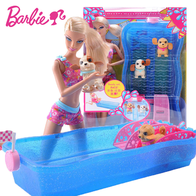Original Barbie Swim Race Pups Dog Swimming Game with Bath Girl Baby Doll for Birthday Gift