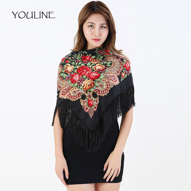 YOULINE Woman Scarf Knitting embroidery Scarves Ethnic Style Cotton Flower Pattern Lady Tassel Square Shawl foulard femme S17180
