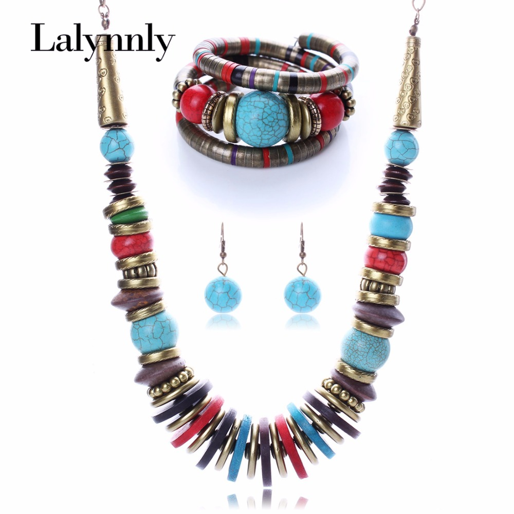 Colourful Fashion Created Vintage Jewelry Set Bracelet Necklace Eearring Sets for Women Wholesale N25821