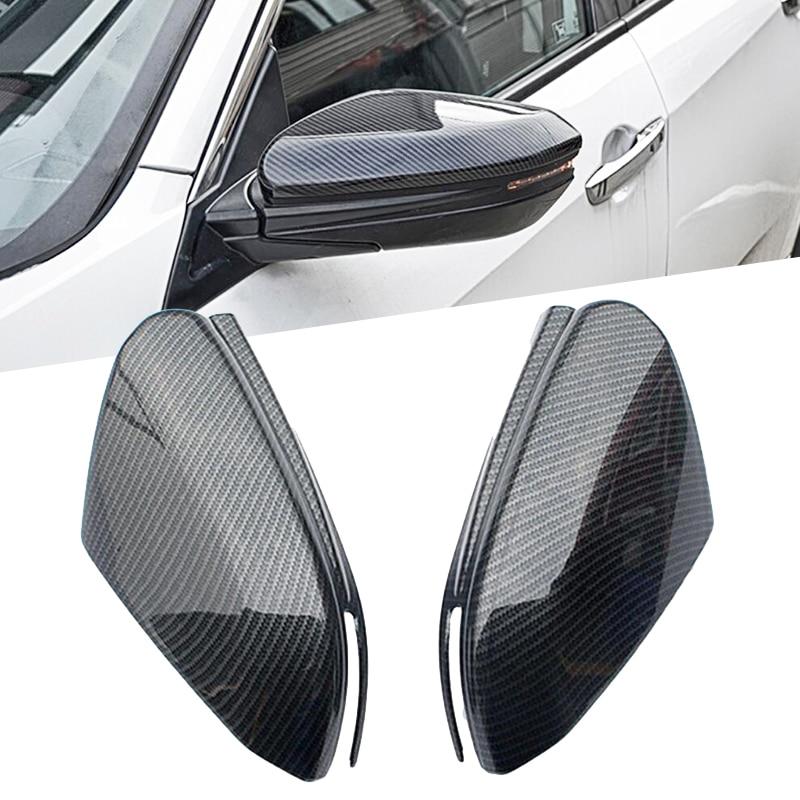 Side Door Rearview Mirror Cover Trim Sticker ABS Carbon Fiber Exterior Car Accessories For Honda Civic 10th 2016 2017 carbon fiber car leather car central armrest console cover for honda civic 10th 2016 2017 2018 accessories