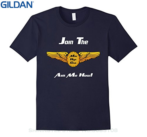 GILDAN Top Tee 100% Cotton Humor Men Crewneck Tee Shirts Join The Mile High Club Ask Me How Shirt