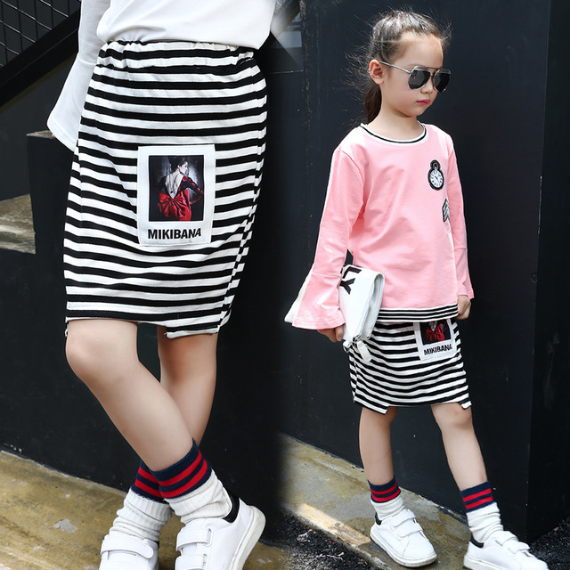 Spring and Autumn Stripes Girls Pencil Kids Skirt New Children's Clothing Cotton Black Pattern