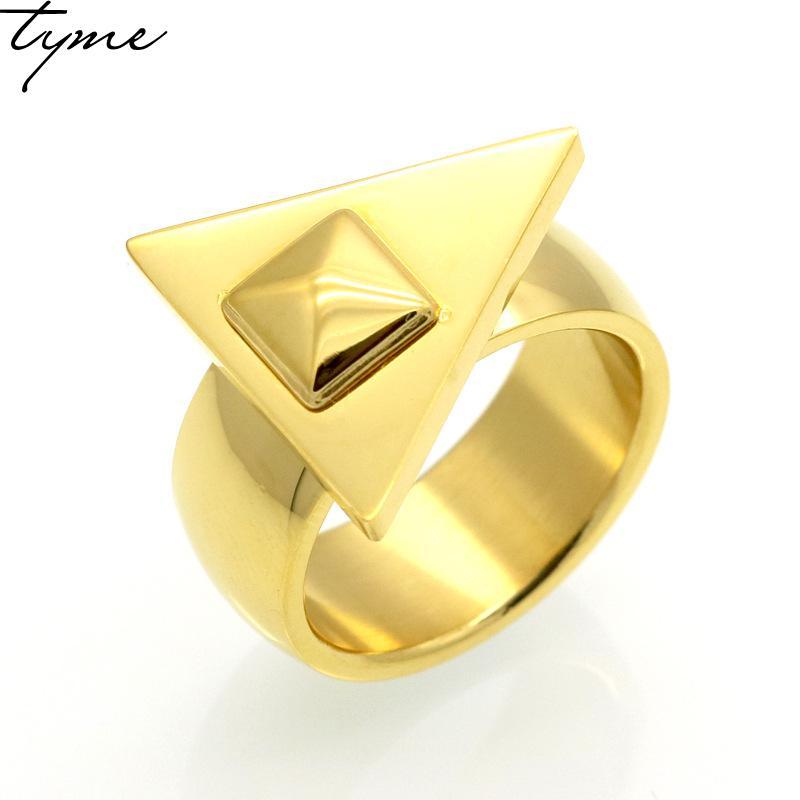 316L Титан стали Мода Эстетическая простой треугольник Золото-цвет кольцо для Для мужчин; для женщин покрытие из розового золота ювелирные из...