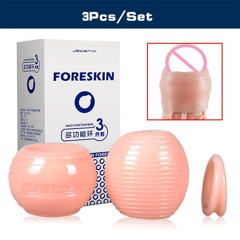 JEUSN 3Pcs/Set Foreskin Correction Cock Rings Adult Sex Products For Men Silicone Flexible Penis Rings Male Glans Penis Block auexy silicone vibrating ring cock waterproof penis clit vibrator rings adult sex toys for men sex products sex toys for couple