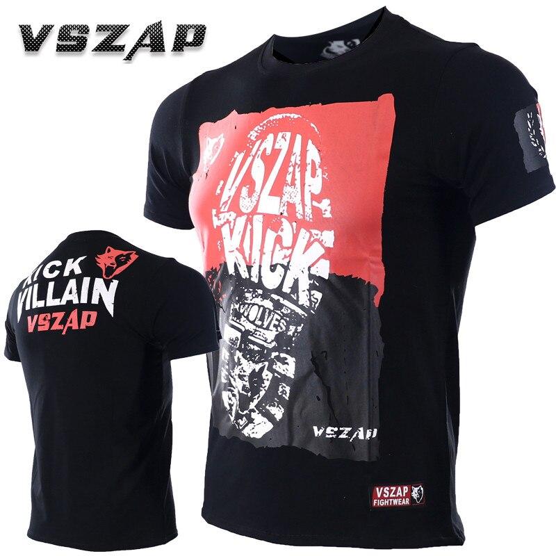 VSZAP Jiustice Kick Fitness T-Shirt Men Short-Sleeved Elastic Cotton T-Shirt MMA Fight Muay Thai Sanda Fighting Martial Arts