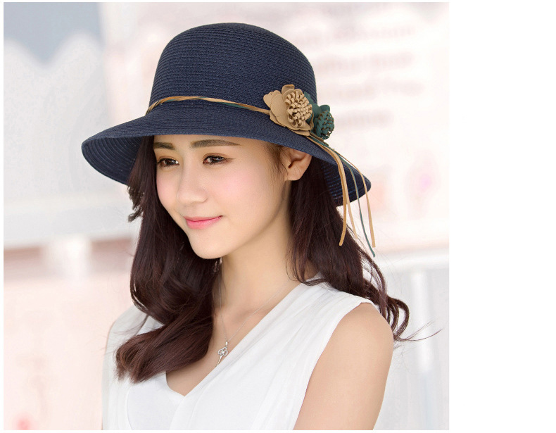 HTB1lWkRolTH8KJjy0Fiq6ARsXXa8 - 2018 Summer New Solid Floppy Straw Hats For Women Flower Accessories ladies Summer Beach Sun Caps Panama Style Hat