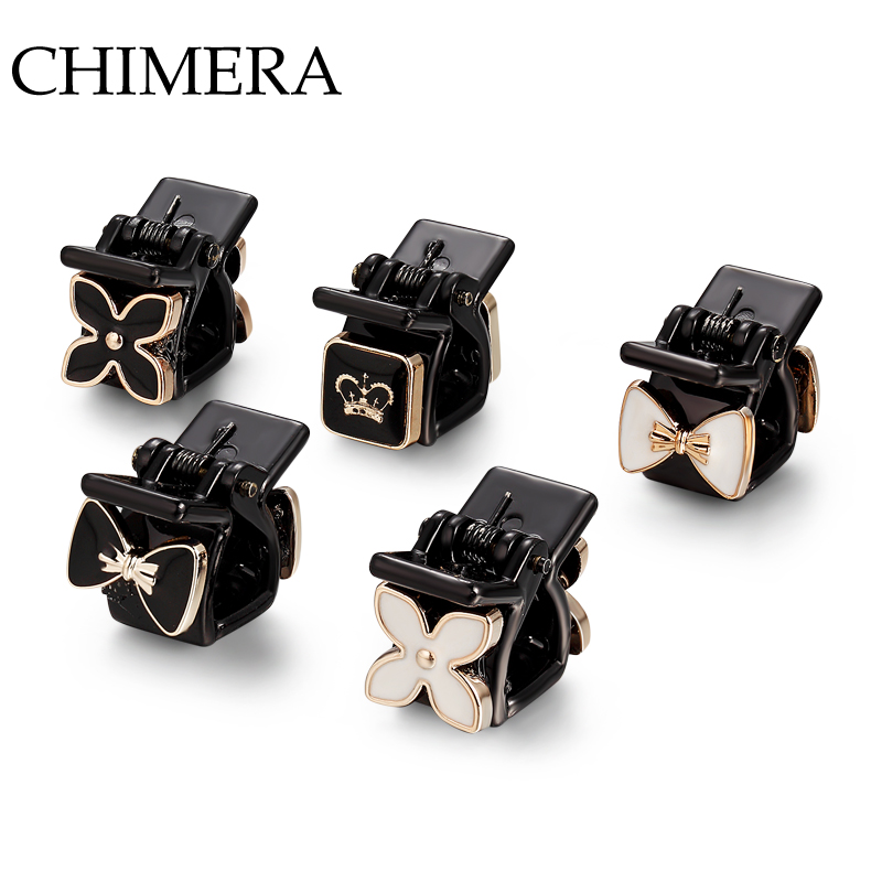 CHIMERA 5PCS/set Black Hair Claws Small Cute High Quality Different Pattern Hair Jewelry Accessories for Women 3160468